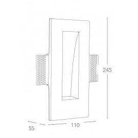 I-ARIEL-QL1 - Faretto Gesso Verniciabile Rettangolare Incasso Scomparsa Parete Cartongesso GU10 mini