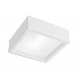 I-GABRIEL/PL25Q - Soffitto Ribassato Plafoniera Quadrata Gesso Vernicibile diffusore Vetro E27