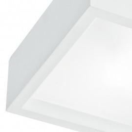 Structure carrée en plâtre à peindre et diffuseur en verre Ligne Gabriel