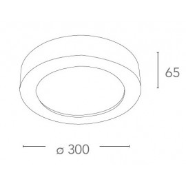 Plafoniera Gabriel Tonda 30 cm in Gesso Verniciabile con Diffusore in Vetro FanEurope
