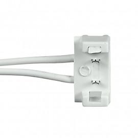 Connettore a due clip bianco per
