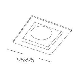 Spot encastré carré fantôme 9,5x9,5 cm en plâtre à peindre FanEurope