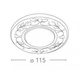 Spot encastré rond Bluma de 11,5 cm en porcelaine blanche avec décoration manuelle FanEurope bleue