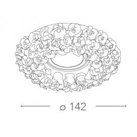 Spot encastrable rond Florenza 14.2 en porcelaine blanche avec rose FanEurope