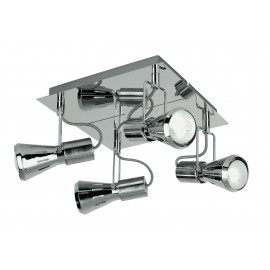 SPOT-CADILLAC-PL4 - Plafonnier carré à quatre lumières de couleur chromée 40 watts E14