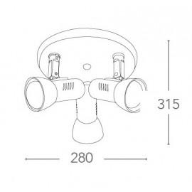 SPOT-CARRERA-PL3 - Plafoniera tonda bianca a tre luci 42 watt E27