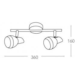 SPOT-CAYENNE-2 - Plafoniera cromata a due luci led dalla forma semplice 10 watt 4000 kelvin