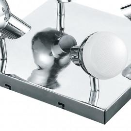 SPOT-CAYENNE-PL4 - Plafonnier carré avec quatre lumières LED en couleur chrome 20 watts 4000 kelvin