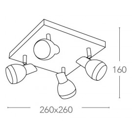 SPOT-CAYENNE-PL4 - Plafoniera squadrata a quattro luci led dal colore cromato 20 watt 4000 kelvin