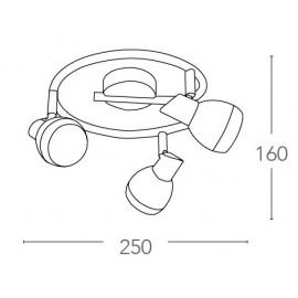 SPOT-CAYENNE-S3 - Plafonnier trois lumières chromé au design moderne 15 watts 4000 kelvin