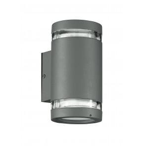 I-6046/SILVER - Applique Cilindrica Alluminio Silver Fasce Trasparenti Tenuta Stagna GX53 Luce Fredda