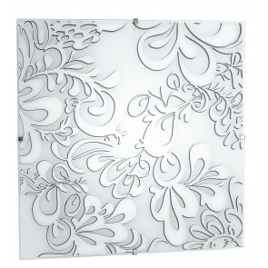 I-KAPPA-LD / Q POISON - Plafonnier carré blanc à décor floral 42 watts