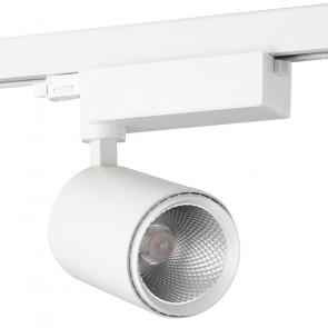 LED-EAGLE-W-30WC - Faretto per binario led di colore bianco dalla forma semplice 30 watt 3000 kelvin