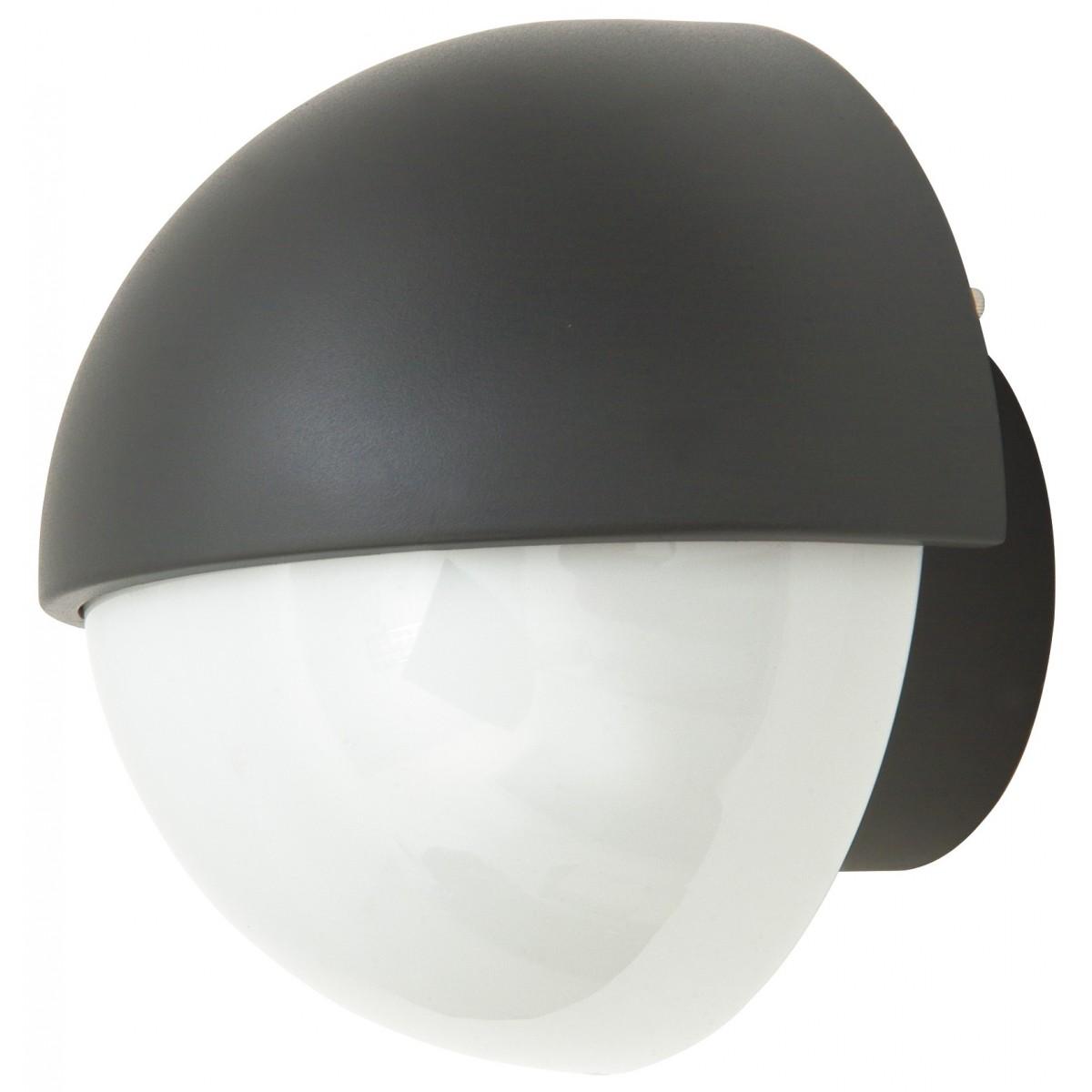 I-1842 / ANTHRACITE - Applicateur à paupières rondes en aluminium noir Diffuseur en polycarbonate opale extérieur E27