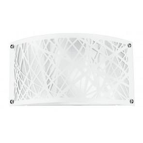 I-BATIK/AP - Applique Moderna Acciaio Bianco decoro Astratto Intagliato Lampada da Parete E14