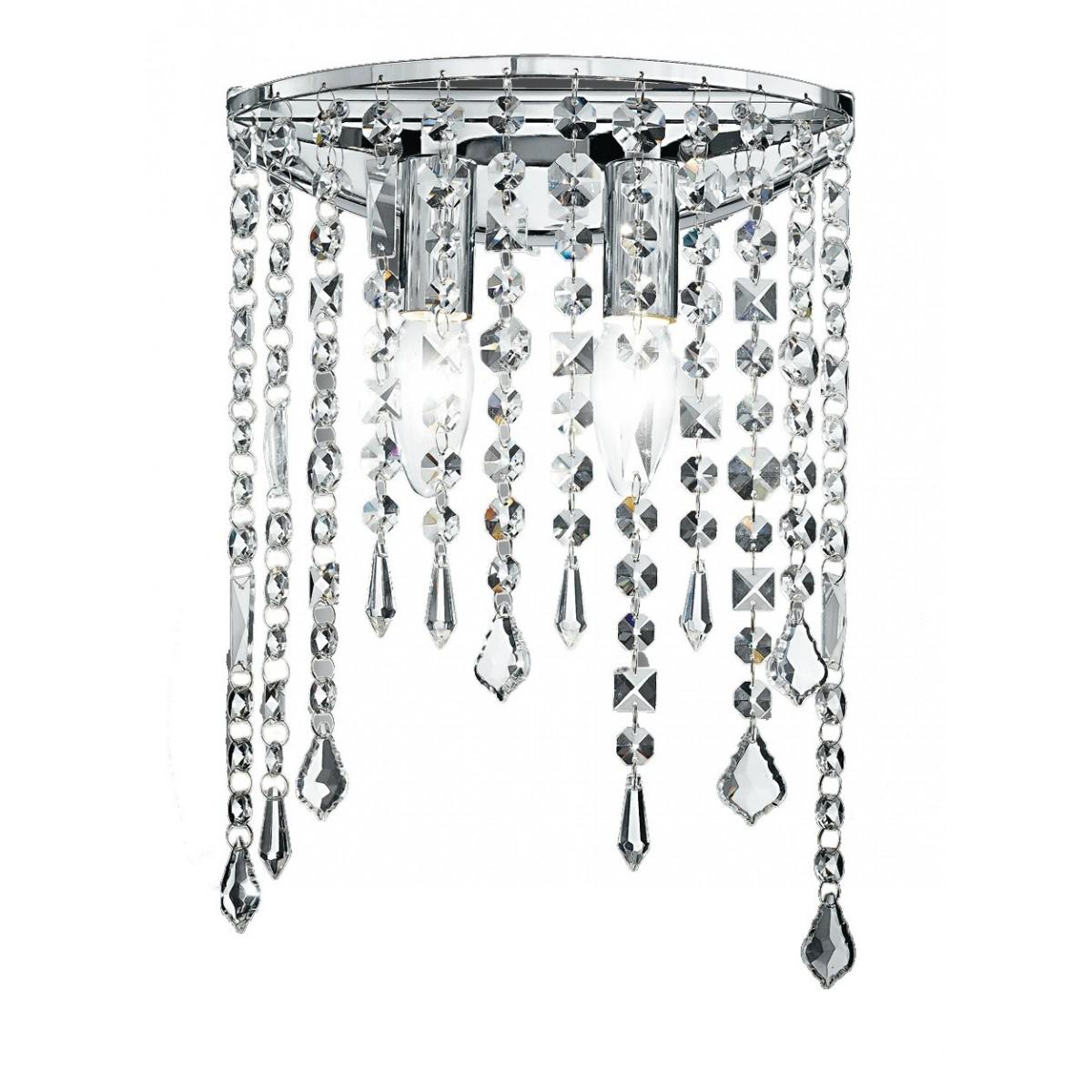 I-BREEZE/AP2 - Applique Elegante Pendenti Cristalli K9 Metallo Lampada da Parete Classica E14