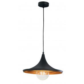 I-BROADWAY-S1 - Suspension conique en métal noir cuivre vintage rustique lustre E27