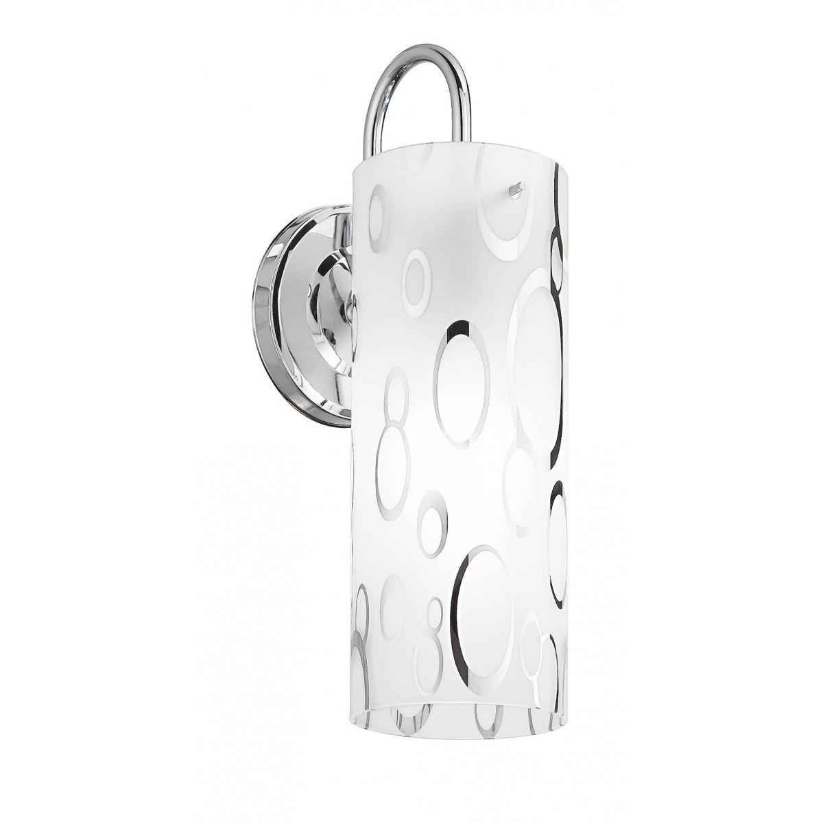 I-BUBBLE-CIL/AP - Applique Cilindrica Vetro Bianco Bolle Cromate Interno Moderno E27