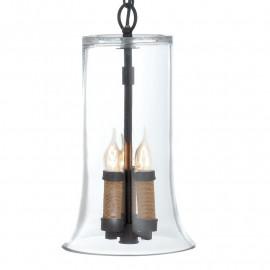 Diffuseur en verre transparent à suspension Charlot avec ampoules à bougie