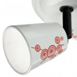 SPOT-LIMOGES-PL3 - Plafonnier à trois lumières avec décoration abstraite orange et rouge 33 watts 3500 kelvin G9