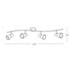 SPOT-MITO-S4 - Plafoniera elegante di colore nickel a quattro luci 40 watt E14