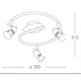 SPOT-SUNNY-S3 - Plafoniera di colore nickel dalla forma originale a tre luci 42 watt 2800 kelvin GU10