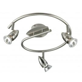 SPOT-SUNNY-S3 - Plafonnier de couleur nickel avec une forme originale avec trois lumières 42 watts 2800 kelvin GU10