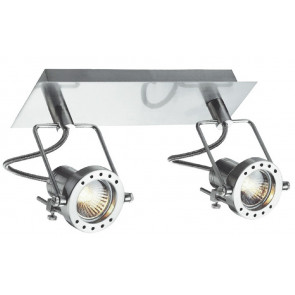SPOT-TECHNO-2 - Applique a due luci cromata dalla forma essenziale 42 watt 2800 kelvin GU10
