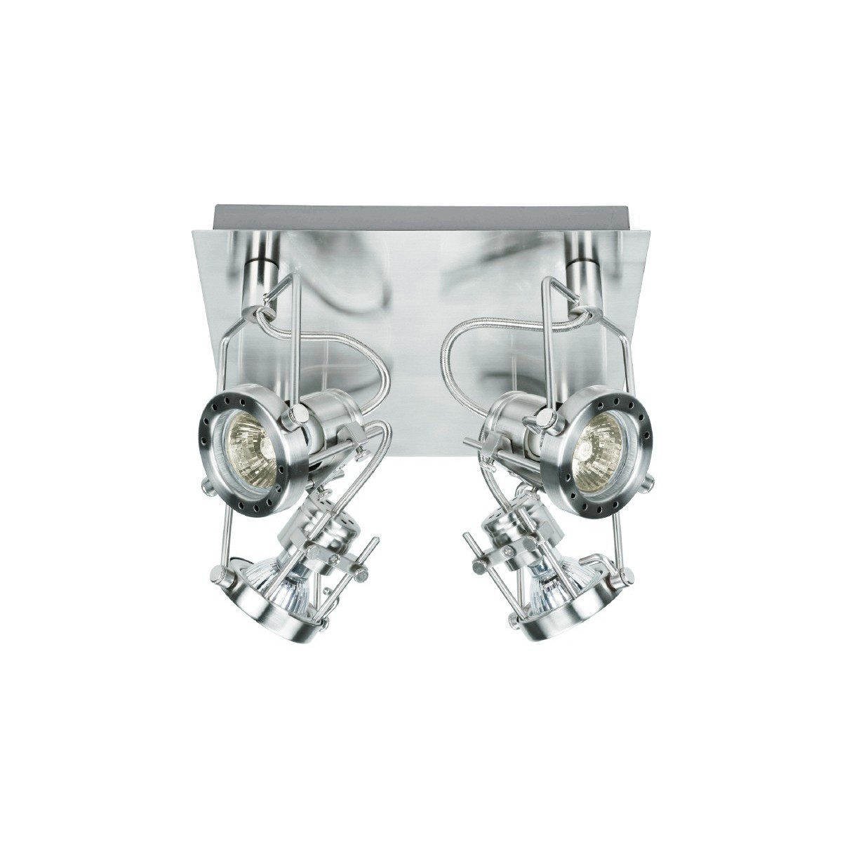 SPOT-TECHNO-PL4 - Plafonnier carré chromé 42 watts 2800 kelvin GU10