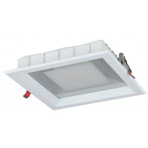 INC-MARK-30C - Spot carré blanc satiné aluminium moulé sous pression encastré Led 30 watts lumière chaude