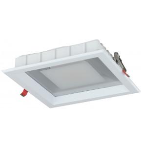 INC-MARK-30F - Faretto Incasso Alluminio Bianco Satinato Quadrato Cartongesso Led 30 watt Luce Fredda