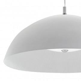 Sospensione a Cupola in Metallo Bianco Satinato Doppia Diffusione di Luce