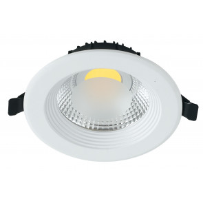 INC-LYRA-10C - Incasso Cartongesso Tondo Alluminio Bianco Faretto Led 10 watt Luce Calda