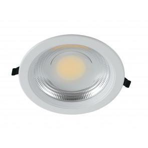 INC-LYRA-20C - Faretto Tondo Alluminio Bianco Incasso Soffitto Ribassato Led 20 watt Luce Calda