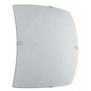 I-NEVE/PL25Q - Plafoniera Vetro Bianco Quadrata Classica Led Soffitto Parete 8 watt Luce Naturale
