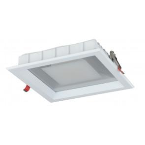INC-MARK-20C - Incasso Soffitto Ribassato Faretto Quadrato Alluminio Bianco Satinato Led 20 watt Luce Calda