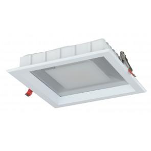 INC-MARK-20F - Faretto a Incasso Bianco Satinato Quadrato Alluminio Pressofuso Led 20 watt Luce Fredda