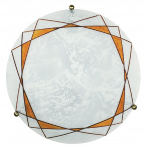 I-ROSITA/PL40 - Plafoniera tonda di colore bianco con decoro ambrato 60 watt E27