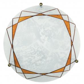 I-ROSITA / PL40 - Plafonnier rond blanc avec décoration ambre 60 watts E27