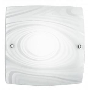I-UNIVERSE/PL30 - Plafoniera Quadrata Vetro decoro Satinato Cerchi Lampada Moderna 18 watt Luce Naturale