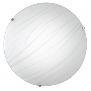 I-GOGAIN/PL30 - Plafoniera Vetro decoro Linee Satinato Tonda Moderna Led 18 watt Luce Naturale