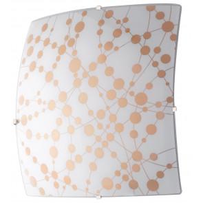I-SUMMER/PL30 - Plafoniera Quadrata Pois Arancio Vetro Moderna Led Soffitto Parete 18 watt Luce Naturale