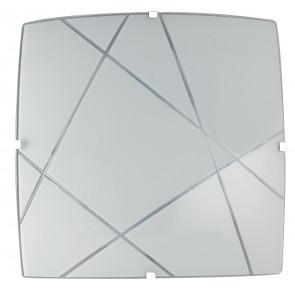 I-ALEXIA / PL30 - Plafonnier avec décoration carrée gravée en verre satiné Lampe LED moderne 15 watts Lumière naturelle