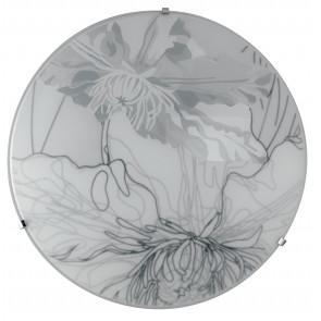 I-MATISSE / PL30 - Plafonnier Rond Décoration En Verre Floral Gris Moderne Led 18 W Lumière Naturelle