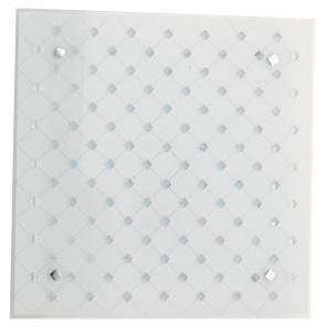 I-FLORIAN/PL30 - Plafoniera a led bianca con cristalli incastonati e decorazioni a rombo 18 watt