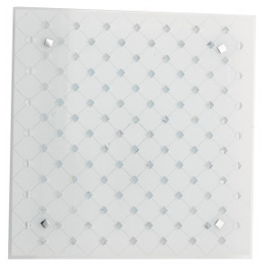 I-FLORIAN / PL30 - Plafonnier LED blanc avec cristaux incrustés et décorations losanges 18 watts