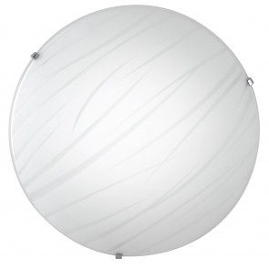 I-GOGAIN/PL40 - Plafoniera Tonda Vetro decoro Linee Satinato Lampada Led 24 watt Luce Naturale