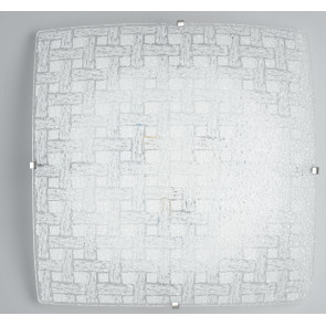 I-PAMELA/PL40 - Plafoniera Vetro Diamantato Intreccio Quadrata Lampada Led 24 watt Luce Naturale