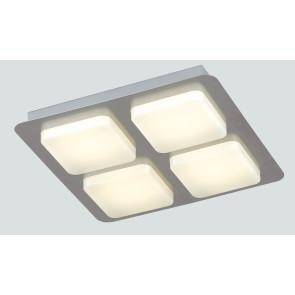 LED-MADISON-Q4 - Plafoniera Quadrata 4 Luci Acrilico Metallo Lampada Moderna Led 24 watt Luce Calda
