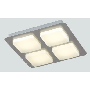 LED-MADISON-Q4 - Plafoniera Quadrata 4 Luci Acrilico Metallo Lampada Moderna Led 24 watt Luce Calda